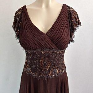 Tadashi Petite Collection Silk Beaded Gown Dress